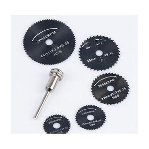 6pcs set for dremel cutoff circular saw hss rotary blades tool cutting discs mandrel cutoff mini circular saw blade wholesale