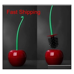 Creative Lovely Red Cherry Shape Lavatory Brush Plastic Bathroom Cleaning Tool Decor Toilet Brush & Holder qylFzK hairclippersshop