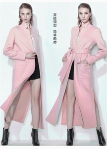 Cappotti donna invernale 2020 Colore massello di fascia alta Cassock-medio Cappotto di cachemire Slim Splicing in pizzo 100% cappotto di lana femmina grande taglia1