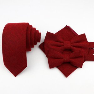 Mens Solid Color Cotton Tie Set Designer Pocket Square Handkerchief Butterfly Party Bow Tie Ties Set Accessory Gift 4 Lots