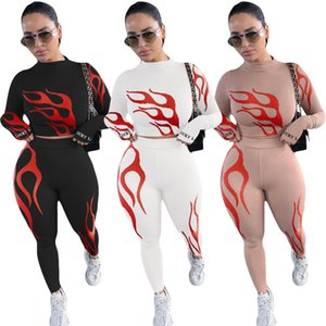 New Lucky Label 2 Piece Set Women Fire Print Crop Top Lenggins Skinny Outfits Tracksuit Matching Set Girl Wholesale Dropshpping F1216