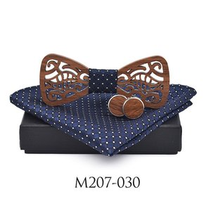 New Wooden Decoration Tie Cufflinks Set Dress Suit Party Gentleman Wood Bow Tie Gift Set Corbatas Para Hombre Butterfly Q sqcYYo
