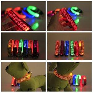 Nylon Leopard Pet Dog Collar Night Safety LED Recharge Collars Flat Fiber Collar Training Safety Collar Necklace Pet Supplies 50 p2