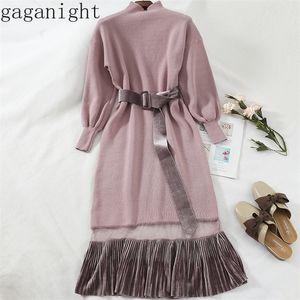 Gaganight femmes automne robe d'hiver manches longues turtleneck tricoté maxi robes bureau dames coréens patchwork slim sashes 201028