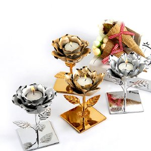 Nordic Candles Holder Plating Silver Gold Lotus Rose Shape Candlestick Valentine Wedding Festival Home Tealight Candles Decor BWD3142