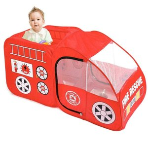 Fire Engine Truck Pop Up Play Tent Foldable Indoor Outdoor Playhouse for Kids