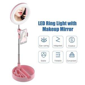 FOTOGRAFÍA LIGHTING LED LED Luz de escritorio plegable Lámpara de la lámpara Lámpara Luz de maquillaje Espejo Soporte para teléfono para selfie Grabación de video