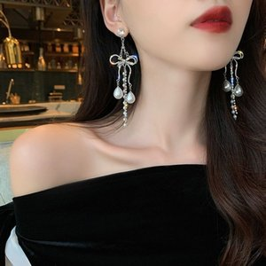 Hohe qualität perle ohrringe bogen krawatten strass ohrringe hochzeit billig neue mode elegent long silber ohrring charms pearl ohrring streben
