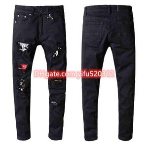 21ss Erkek Skinny Jeans Fashional Rahat Ince Biker Jean'ın Denim Pantolon Diz Delik Hiphop Pantolon Yıkanmış Yıkanmış Yüksek Kalite 10200 Boyutu 28-38