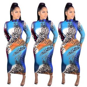 Womens Print Designer langes Kleid Langarm Bunte Leopard Panelled Kleider mittlere Taille Art und Weise beiläufige Damen Kleidung