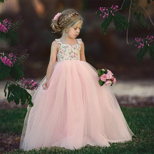 Little Flower Girls Princess Dresses Summer Kids Floral Cute Elegant Pink Bow Ruffle Sleeveless Sling Tulle Prom Wedding Party Dress Clothes
