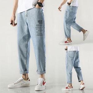 Wholesale 2021 teenagers Denim Jeans men's brand Korean summer long pants men's straight loose casual ankle length harem pants