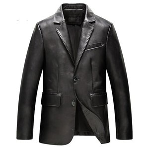 Spring Men's Genuine Leather Jacket For Men Fashion Black Male Sheepskin Coat Plus Size 4XL suit coat