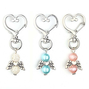 30Pcs Cute Baby Baptism Keychain Angel Wings Pendant Favors Baby Shower Baptism Party Keepsake Love Heart Pearl Keychain Gift
