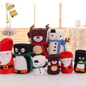 Cartoon Christmas Flannel Coperte pieghevole Pieghevole Babbo Natale Snowman Penguin Deer Pattern Tappeto lavabile Tenere calda coperte di tiro morbido WQ131