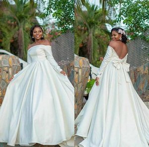 African Off Shoulder Long Sleeves Wedding Dresses with Bow Tie Sweep Train Backless Satin A Line Wedding Bridal Gowns vestidos de novia