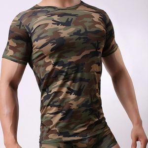 Sexy Men's Undershirt Milk Silky Printed Camouflage Short-sleeved Leotard Jumpsuit Wrestling Undershirt Pajamas Underwear