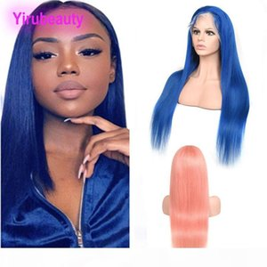 Brazilian Virgin Hair 13X4 Lace Front Wig Red Blue Plink Yellow Silky Straight 13 By 4 Lace Front Wig Remy Human Virgin Hair 12-30inch