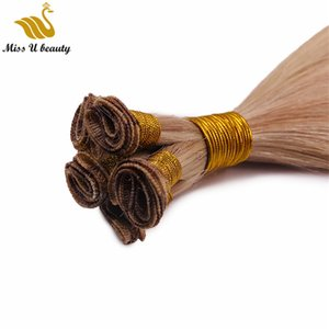 Brazilian Virgin Hair Hand Tied Weft Remy Hand Tied Human Hair 2 Bundles 100g bundle Light Color Hair Extension