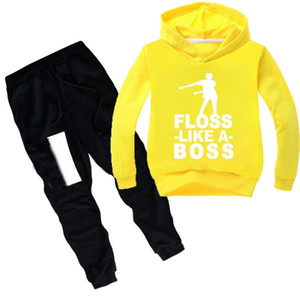 DLF 2-16Y Fashion Baby Boy Clothes 2pcs Set Letter Print Top Floss Like a Boss Hoodies Long Pants Suit Toddler Outfits Tracksuit Y200325