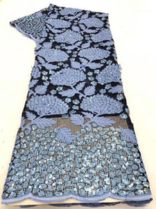 New Sky Blue Gold African Organza Sequins Lace Fabric 2020 High Quality Nigerian French Net Mesh Lace Fabrics For Women Dress1