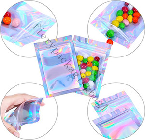 Hot Resealable Smell Proof Bags Foil Pouch Bag Flat Ziplock Bag laser color Packaging Bag For Party Favor Food Storage Holographic Color 5s
