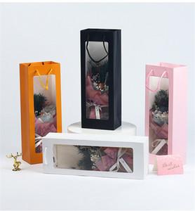 مستطيل هدية حزمة حقيبة مرئية نافذة بيضاء الوردي الوردي الأسود ورقة النبيذ زهرة الحاضر حقيبة عيد ميلاد هدية حالة التعبئة