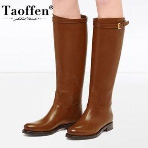 TAOFFEN Plus Size 34-45 Women Leather Knee High Boots Flat Heel Women Winter Warm Boots Fashion Casual Woman Long Footwear 201123