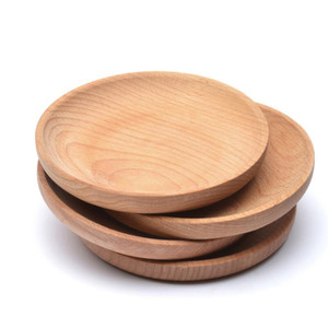 Round Wooden Plate Dish Dessert Biscuits Plate Dish Fruits Platter Dish Tea Server Tray Wood Cup Holder Bowl Pad Tableware Mat EWD3228