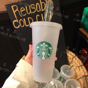 Starbucks 24oz / 710ml plástico tumbler reutilizável limpeza limpa plana plana copo pilar forma tampa caneca palha Bardian 50 pcs frete grátis