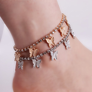 2020 Butterfly Charms Zircon Tennis Anklet Women's Fashion Butterfly Anklet Bracelet 22+5cm