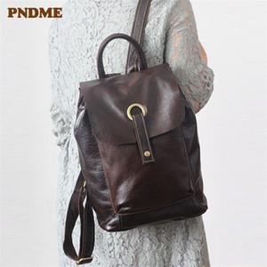 PNDME fashion genuine leather women backpack cowhide waterproof daily travel bookbag designer vintage anti theft female bagpack A1113