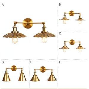 Двойная головка бронзовая железная стена Sconce Edison Loft Industrial старинные светодиодные светильники настенные светильники Отрегулируйте прикроватное освещение лампы