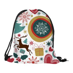 drawstring bag Christmas Gift Casual Drawstring Bag Flower Printed Backpack Storage Bag mochila feminina #A20