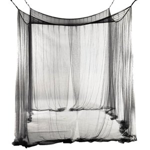 New 4-Corner Netting Canopy for Queen King Sized 190*210*240cm (Black) Bed Mosquito Net
