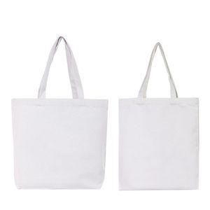 DA TE Bianco Tote Canvas Bag Sublimation Blank Rettangolo Borsa a mano Singola Strada singola Cinturino Bianco Outdoor Shopping 6 5MJ G2