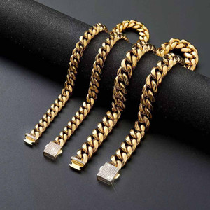 316L Stainless Steel Men Women Cuban Link Chain Necklace Bracelet Curb Chains Jewelry Full Diamond Lock Clasps 6mm 8mm 10mm 12mm 14mm