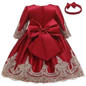 Flower Tutu Christmas Dress Long Sleeve For New Year Girl Children Clothing Winter Kids Dresses Q1118
