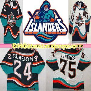 1995 rétro New York Islanders Fisherman CCM Jersey Hockey Wendel Clark Brett Lindros Zdeno Chara Berttuzzi bleu marine Blanc Blanc alternatif cousu