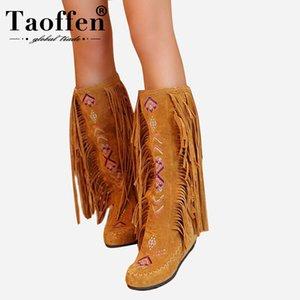Taoffen Fashion Chinese Nation Style Flock Cuero Mujer Fringe Tacones planos Botas largas Mujer Tassel Knee Botas altas Tamaño 34-43 C0202