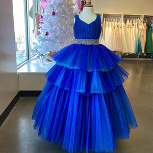 Ruffle Girl Pageant Dress 2021 Ballgown Sleeveless Long Pageant Gown for Little Girl Infant Toddler Teen Pearl Beading Waist Royal-Blue