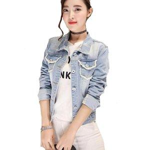 Autumn Fashion Light Blue Ripped Hole Women's Denim Jackets Patch Designs Vintage Female Jeans Coat FS0262