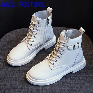 Jazzposture del zapato con cordones botas de cuero genuino negro Botas 2020 otoño / invierno Q625