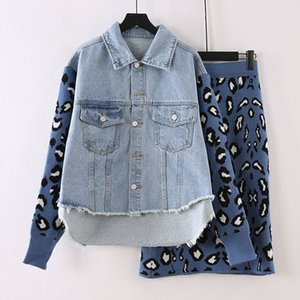 RUGOD Women Denim Patchwork Jacket Two Piece Sets Knitting Casual Single Breasted Knitted Sleeve Coat Sweater Skirt