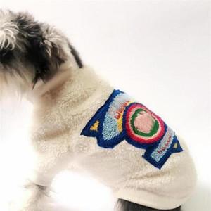 Colorido letra bordado mascotas chaquetas moda suave toque mascota cremallera abrigos invierno espesando schnauzer Outerwears ropa