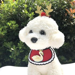 Dogs Bibs Christmas Dog Knitted Bandana Pet Supplies Accessories for Dogs Scarf Pets puppy Appare Accesorios Elk Hair Ornaments DDD3199