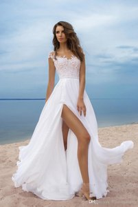 Modest 2020 Beach Wedding Dresses Evening party Lace Cap Sleeves Chiffon High Split Lace-Up Back Long Bridal Gowns Custom Made From China