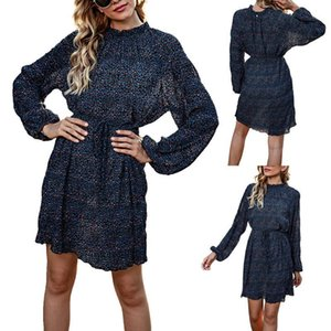 Women's Dresses Long Sleeve Casual Leopard Print Lace Round Neck Dress Fashion Women Casual Loose Sexy Tie-Dye Printed