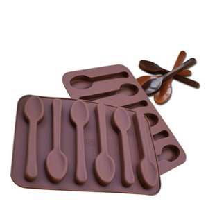 Non-stick Silicone DIY Cake Decoration Molds 6 Holes Spoon Shape Chocolate Molds Jelly Ice Baking Mould 3D Candy Mold DHD3082