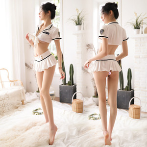 Blue / Bianco Policewomen Costumi costumi cosplay Lingerie Sexy Hostess Police Sailor Slutty Gonna Schoolgirl Uniform